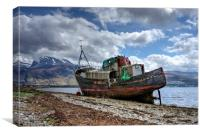 Fishing boat with Ben Nevis in background, Canvas Print