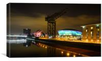 Clydeport, Glasgow at night, Canvas Print
