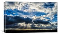 Breaking in the clouds, revealing the rays of beau, Canvas Print