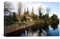 Lichfield Three Spires Cathedral  , Canvas Print