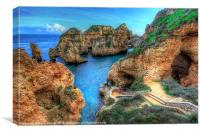 Grottos at Ponta Piedade, Canvas Print