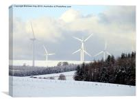 Wind Turbines in Snow, Canvas Print