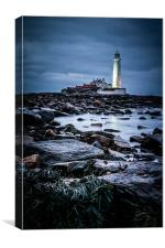 Darkness Falls on St Marys Lighthouse, Canvas Print