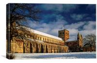 St Albans Abbey in the Snow, Canvas Print