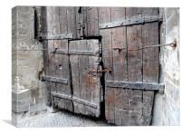 Weathered wooden doors, Canvas Print
