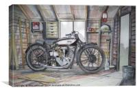An Old motorcycle in the Shed, Canvas Print