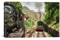 A Tank Engine arrives in Goathland, Canvas Print