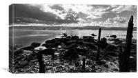 Low water at Pembrey, Canvas Print