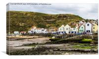 Staithes Harbour At Low Tide, Canvas Print
