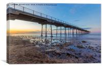 Saltburn as the sun goes down, Canvas Print