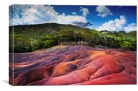 Seven Colored Earth in Chamarel. Mauritius, Canvas Print