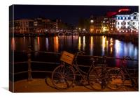 Night Lights on the Amsterdam Canals. Holland , Canvas Print