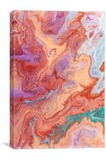 Persian Spring Fragment. Fluid Acrylic Painting, Canvas Print
