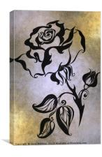 Ink Drawing Chinese Rose Golden, Canvas Print