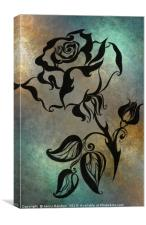 Ink Drawing Chinese Rose Blue, Canvas Print