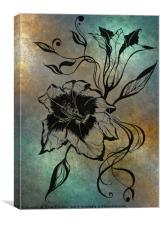 Ink Drawing Lily Elegance Blue, Canvas Print