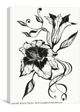 Ink Drawing Lily Elegance, Canvas Print