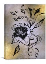 Ink Drawing Lily Elegance Golden, Canvas Print