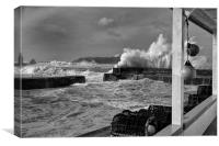 Mullion Cove stormy waves, Canvas Print