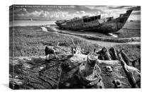 Ship Wreck On The Banks Of The River Wyre, Canvas Print