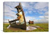 On The Banks Of The River Wyre Fleetwood, Canvas Print