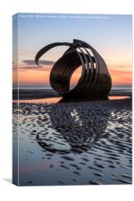 Sunset By Mary's Shell Cleveleys, Canvas Print