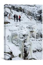 People Stood On Top Kinder Downfall Frozen, Canvas Print