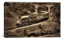 Sir Nigel Gresley Locomotive - Sepia, Canvas Print