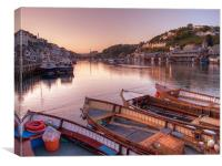 The sun goes down at Looe, Canvas Print