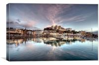 Pink Clouds over Torquay Harbour, Canvas Print