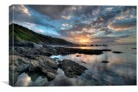 Sunrise at Millendreath Beach Looe, Canvas Print