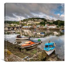 Low Tide on the River Looe Cornwall, Canvas Print