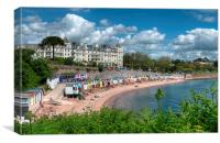 Corbyn Head Beach Huts, Cafe and Grand Hotel, Canvas Print