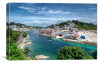 The River Looe and Town beach., Canvas Print