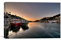 The sun goes down on the Looe River, Canvas Print