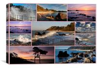Meadfoot Beach Collage through the seasons, Canvas Print