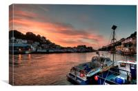 Sunrise on the River Looe in Cornwall, Canvas Print