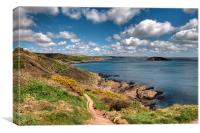 The South West Coast Path approaching Looe , Canvas Print