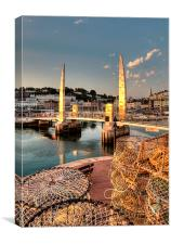 Lobster pots at Torquay Harbour, Canvas Print