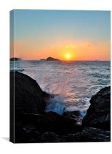 Waves at Sunrise Meadfoot Beach, Canvas Print