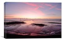 Pink low tide sunrise on Teignmouth Beach, Canvas Print
