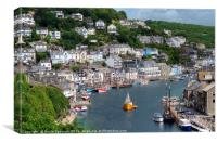 Luggers lined up on the River Looe in Cornwall, Canvas Print