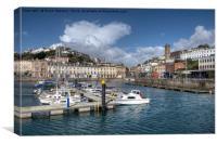Clouds gather over Torquay Harbour, Canvas Print