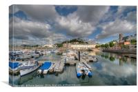 The Big Wheel and reflections  at Torquay Harbour , Canvas Print