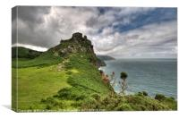 Castle Rock at Valley of the Rocks , Canvas Print