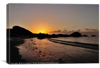 Sunrise on Looe Town Beach , Canvas Print