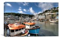 Fishing boats moored on The River Looe , Canvas Print