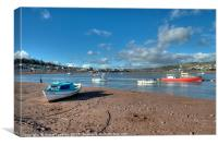 Winter on Teignmouth Back Beach on the River Teign, Canvas Print