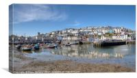Low Tide reflections at Brixham Harbour, Canvas Print