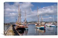 Tall Ships and Small Ships at Torquay Harbour, Canvas Print